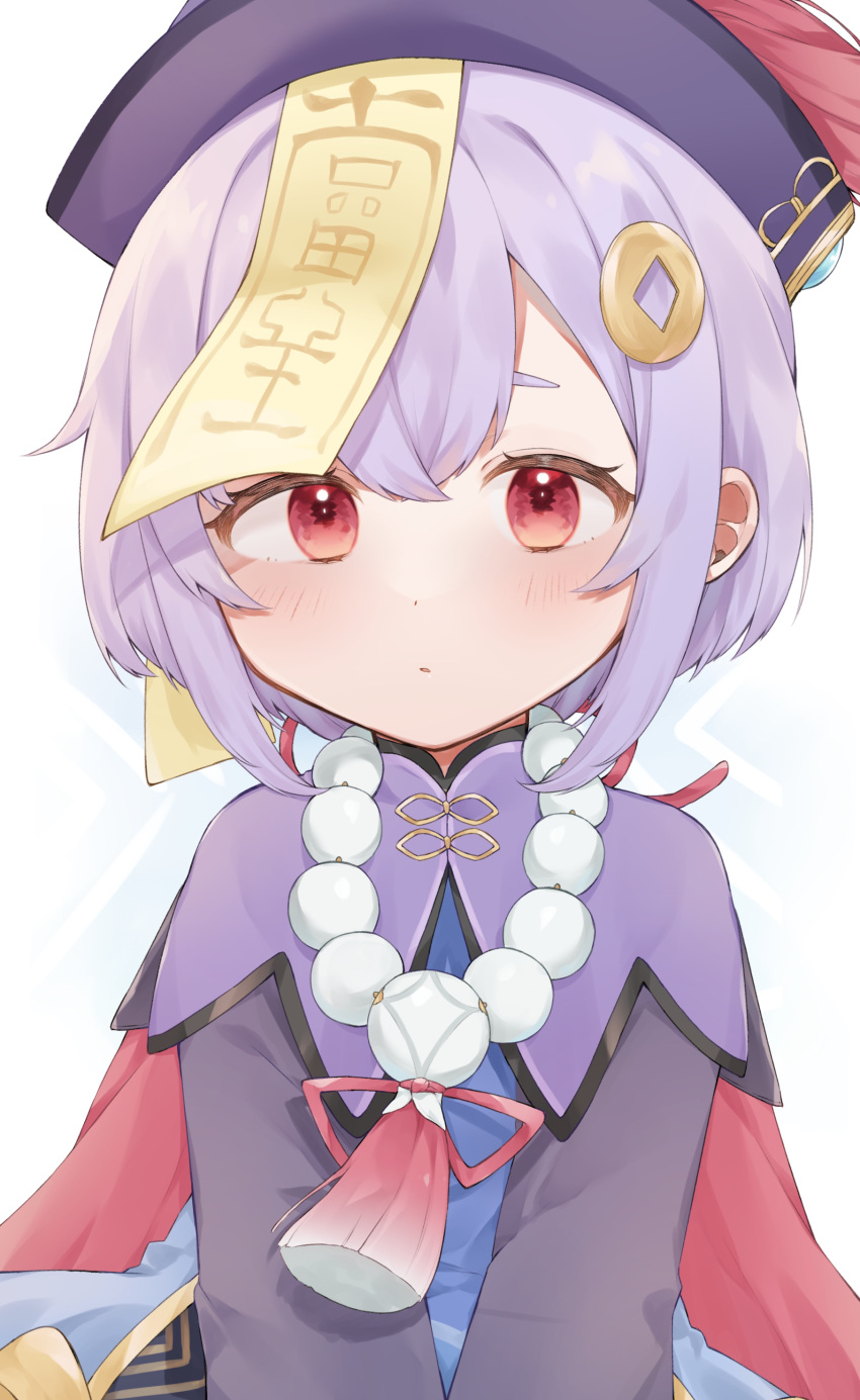 1girl absurdres bangs bead_necklace beads bow cape coin_hair_ornament commentary_request genshin_impact hair_between_eyes hair_bow hair_ribbon hat highres jewelry jiangshi long_hair long_sleeves looking_at_viewer necklace nima0v0 ofuda purple_hair qing_guanmao qiqi_(genshin_impact) red_eyes ribbon sidelocks simple_background solo v_arms white_background
