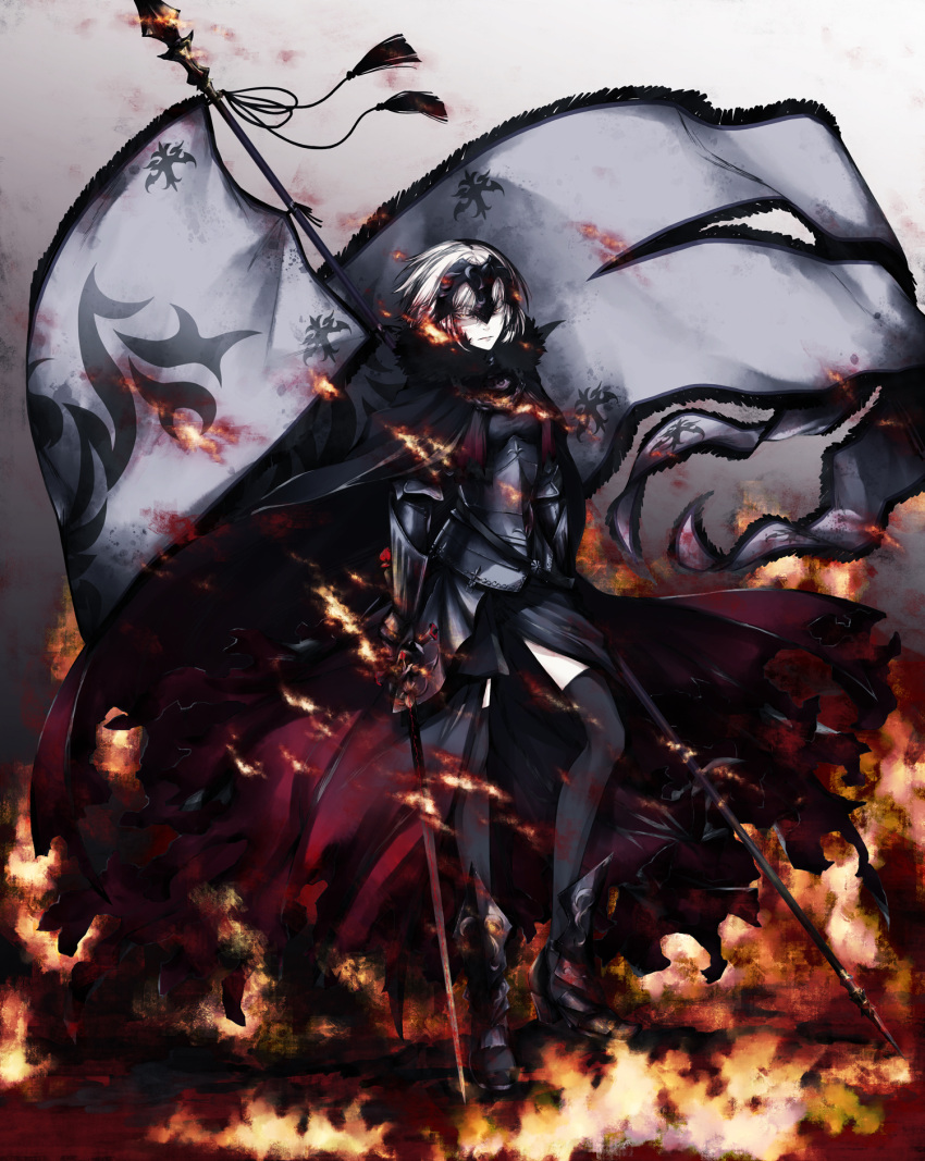 1girl armor armored_boots armored_dress banner black_cape black_dress black_footwear black_legwear boots cape closed_mouth dress fate/grand_order fate_(series) fire full_body gauntlets headpiece highres holding holding_sword holding_weapon jeanne_d'arc_(alter)_(fate) jeanne_d'arc_(fate)_(all) looking_at_viewer no_mae_(mikakatachi) short_hair silver_hair solo standing sword thigh-highs weapon yellow_eyes