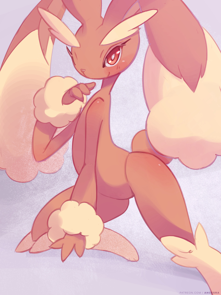 1girl ancesra animal_ears artist_name blush body_fur brown_fur closed_mouth commentary english_commentary flat_chest furry gen_4_pokemon grey_background hand_to_own_mouth hand_up happy highres kneeling looking_at_viewer lopunny one_knee patreon_username pokemon pokemon_(creature) rabbit_ears rabbit_girl rabbit_tail red_eyes simple_background smile solo spread_legs tail two-tone_fur watermark web_address yellow_fur