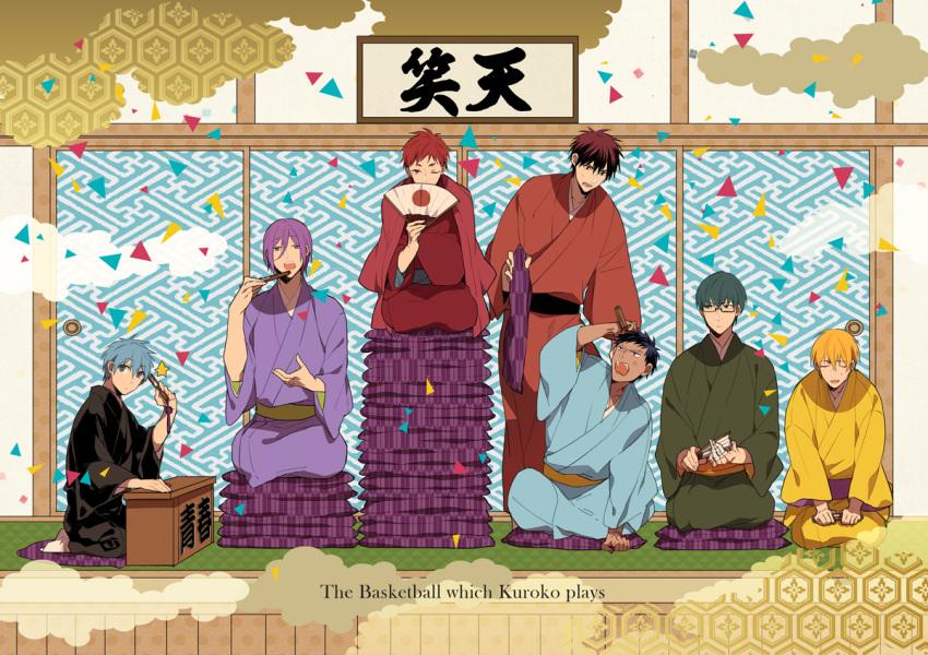 6+boys akashi_seijuurou annoyed aomine_daiki bandaged_fingers bandages black_kimono blonde_hair blue_eyes blue_hair blue_kimono chopsticks closed_mouth commentary_request copyright_name cushion eating facing_viewer folding_fan from_side fusuma glasses green_eyes green_hair green_kimono hand_fan holding holding_cushion holding_fan indian_style japanese_clothes kagami_taiga kimono kise_ryouta ko-man kuroko_no_basuke kuroko_tetsuya light_blue_hair looking_at_viewer looking_down looking_to_the_side looking_up midorima_shintarou multiple_boys murasakibara_atsushi obi one_eye_closed open_mouth orange_kimono purple_hair purple_kimono red_eyes red_kimono redhead rising_sun sash seiza short_hair sitting sliding_doors sunburst yellow_kimono yukata zabuton