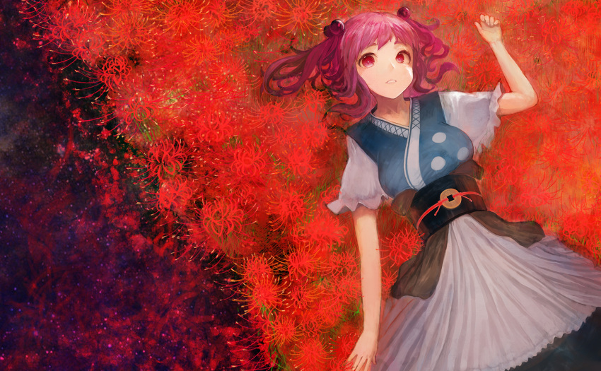 1girl apron arm_up bangs blue_kimono blue_skirt breasts brown_sash coin coin_on_string field flower flower_field hair_bobbles hair_ornament highres japanese_clothes kimono large_breasts long_skirt lying matumasima obi on_back onozuka_komachi outstretched_hand parted_lips red_eyes red_flower redhead sash short_hair short_sleeves skirt sleeveless sleeveless_kimono solo spider_lily touhou two_side_up white_apron