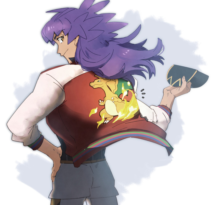 1boy bangs baseball_cap champion_uniform character_print charizard closed_mouth commentary_request dark-skinned_male dark_skin facial_hair floating_hair from_behind gen_1_pokemon hand_on_hip hand_up hat highres holding holding_clothes holding_hat jacket leggings leon_(pokemon) long_hair looking_at_viewer looking_back male_focus morio_(poke_orio) notice_lines pokemon pokemon_(game) pokemon_swsh purple_hair shirt short_shorts shorts smile solo white_legwear white_shorts yellow_eyes