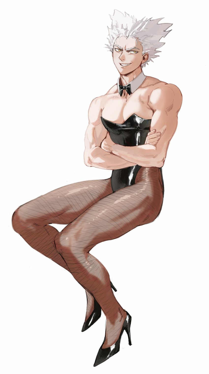 1boy absurdres alternate_costume bare_arms bare_shoulders black_footwear black_leotard bow bowtie collarbone crossdressinging crossed_arms detached_collar dudlesnoodles fishnet_legwear fishnets full_body garou_(one-punch_man) grey_hair grin high_heels highres invisible_chair leotard looking_at_viewer male_focus male_playboy_bunny muscular muscular_male one-punch_man pectorals pointy_hair simple_background sitting smile solo strapless strapless_leotard symbol_commentary tan tanlines teeth white_background yellow_eyes