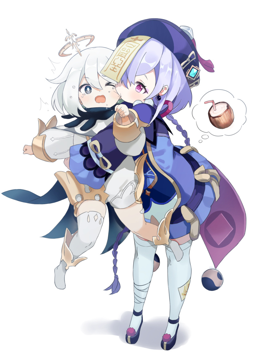 2girls absurdres bead_necklace beads blue_eyes blush braid braided_ponytail coconut drink drinking_straw earrings full_body genshin_impact highres hug hug_from_behind jewelry jiangshi long_sleeves multiple_girls necklace one_eye_closed paimon_(genshin_impact) purple_hair qiqi_(genshin_impact) shorts simple_background standing thigh-highs thought_bubble violet_eyes white_background white_hair wide_sleeves