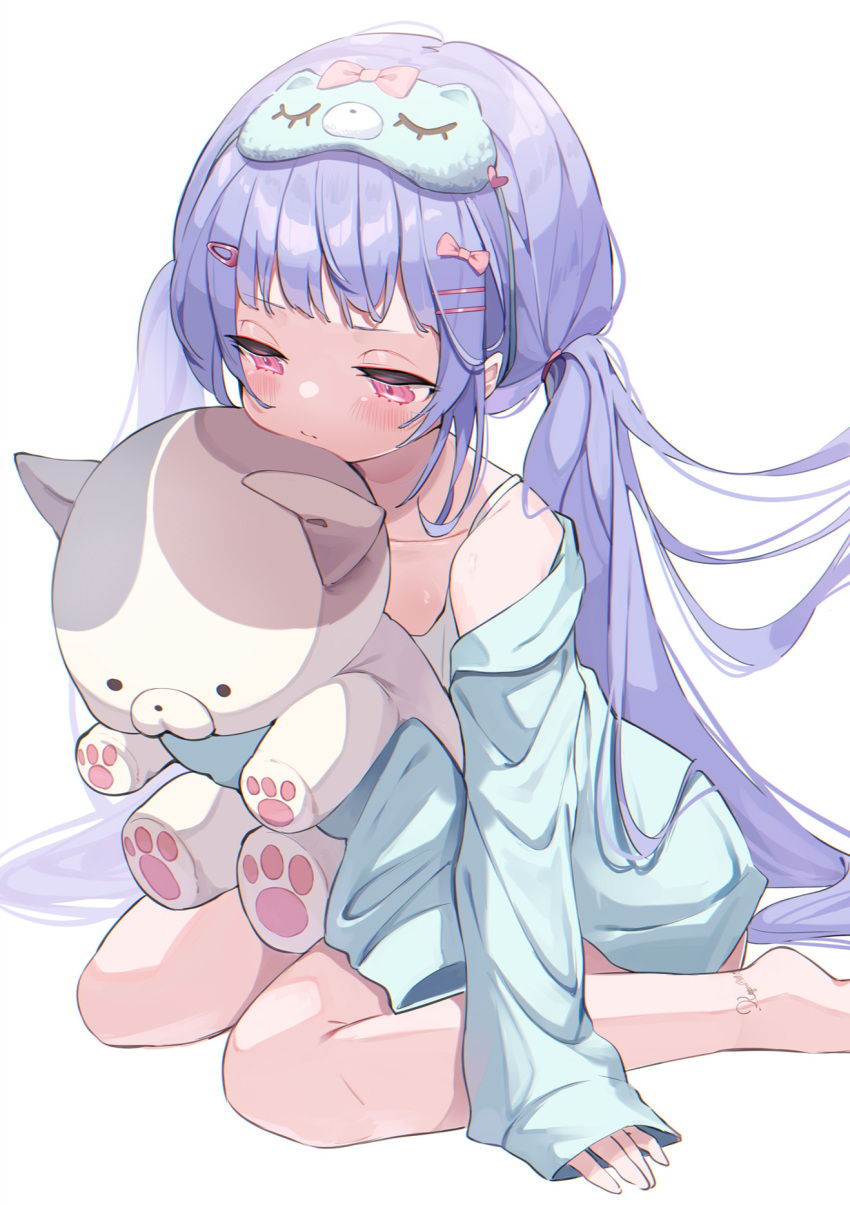 1girl aqua_jacket bangs bare_legs bare_shoulders bow commentary dress eye_mask feet_out_of_frame hair_bow hair_ornament hairclip highres holding holding_stuffed_toy jacket koyubita long_hair long_sleeves looking_down off-shoulder_jacket off_shoulder original pink_bow pink_eyes pout purple_hair simple_background sleeves_past_fingers sleeves_past_wrists stuffed_animal stuffed_cat stuffed_toy symbol_commentary twintails very_long_hair white_background white_dress