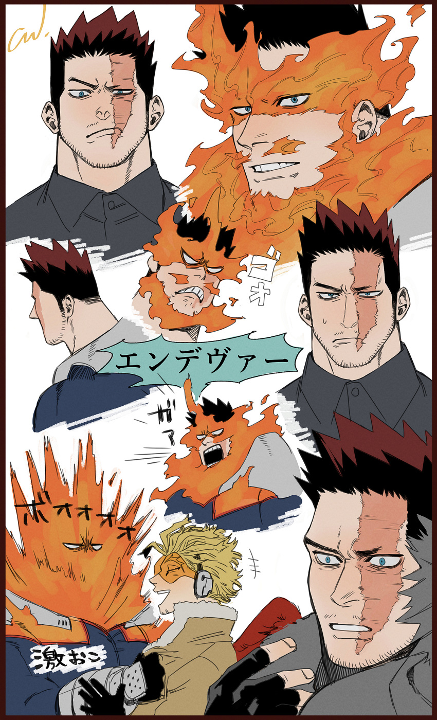 2boys absurdres angry armor beard blonde_hair blue_bodysuit blue_eyes bodysuit boku_no_hero_academia collage collar_grab expressions facial_hair feathered_wings fingerless_gloves fire gloves grey_shirt hawks_(boku_no_hero_academia) highres jo_tuesday19 large_pectorals male_focus mature_male multiple_boys multiple_views muscular muscular_male pauldrons pectorals pout red_wings redhead scar scar_across_eye shirt short_hair shoulder_armor sideburns smile spiky_hair stubble todoroki_enji translation_request wings