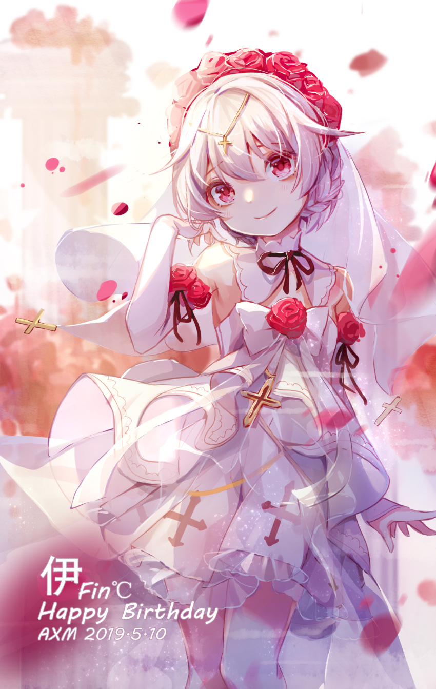 1girl absurdres ai_xiao_meng bangs bare_shoulders bridal_veil closed_mouth cross dress flower hair_between_eyes hair_flower hair_ornament highres honkai_(series) honkai_impact_3rd looking_at_viewer petals red_eyes red_flower red_rose rose smile solo theresa_apocalypse theresa_apocalypse_(luna_kindred) veil wedding_dress white_dress white_hair white_sleeves