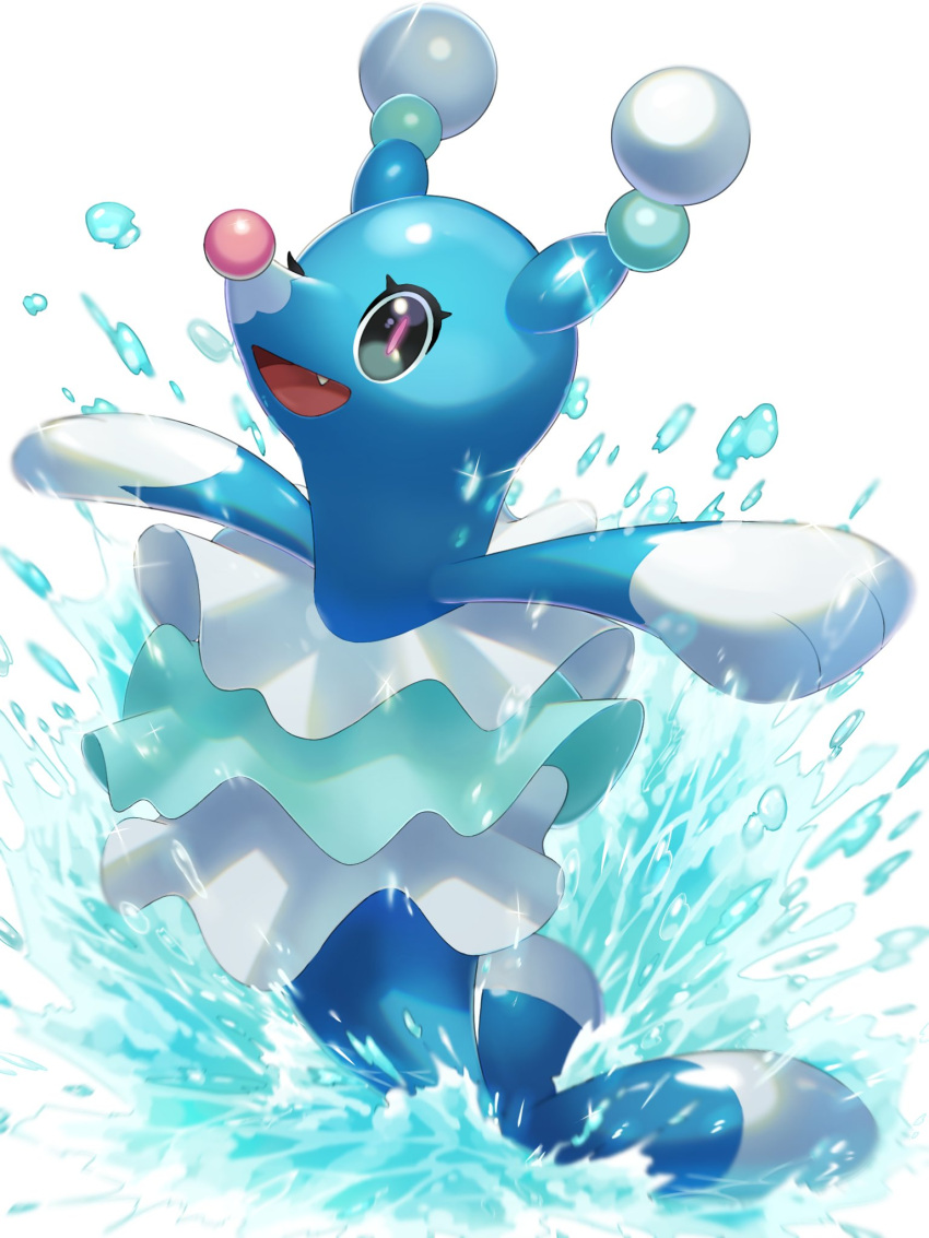 :d black_eyes brionne commentary_request eyelashes fangs gen_7_pokemon happy highres mian_(3zandora) no_humans open_mouth outstretched_arms pokemon pokemon_(creature) shiny shiny_skin smile solo splashing tongue water water_drop