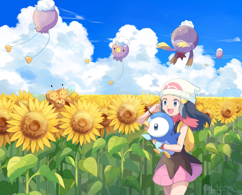 1girl :d backpack bag beanie black_hair bracelet clouds combee dawn_(pokemon) day drifloon eyelashes flower gen_4_pokemon grey_eyes hair_ornament hairclip hat highres holding holding_pokemon jewelry long_hair mei_(maysroom) open_mouth outdoors pink_scarf pink_skirt piplup pokemon pokemon_(anime) pokemon_(creature) pokemon_dppt_(anime) scarf shirt skirt sky sleeveless sleeveless_shirt smile starter_pokemon sunflower tongue twitter_username upper_teeth white_headwear yellow_bag
