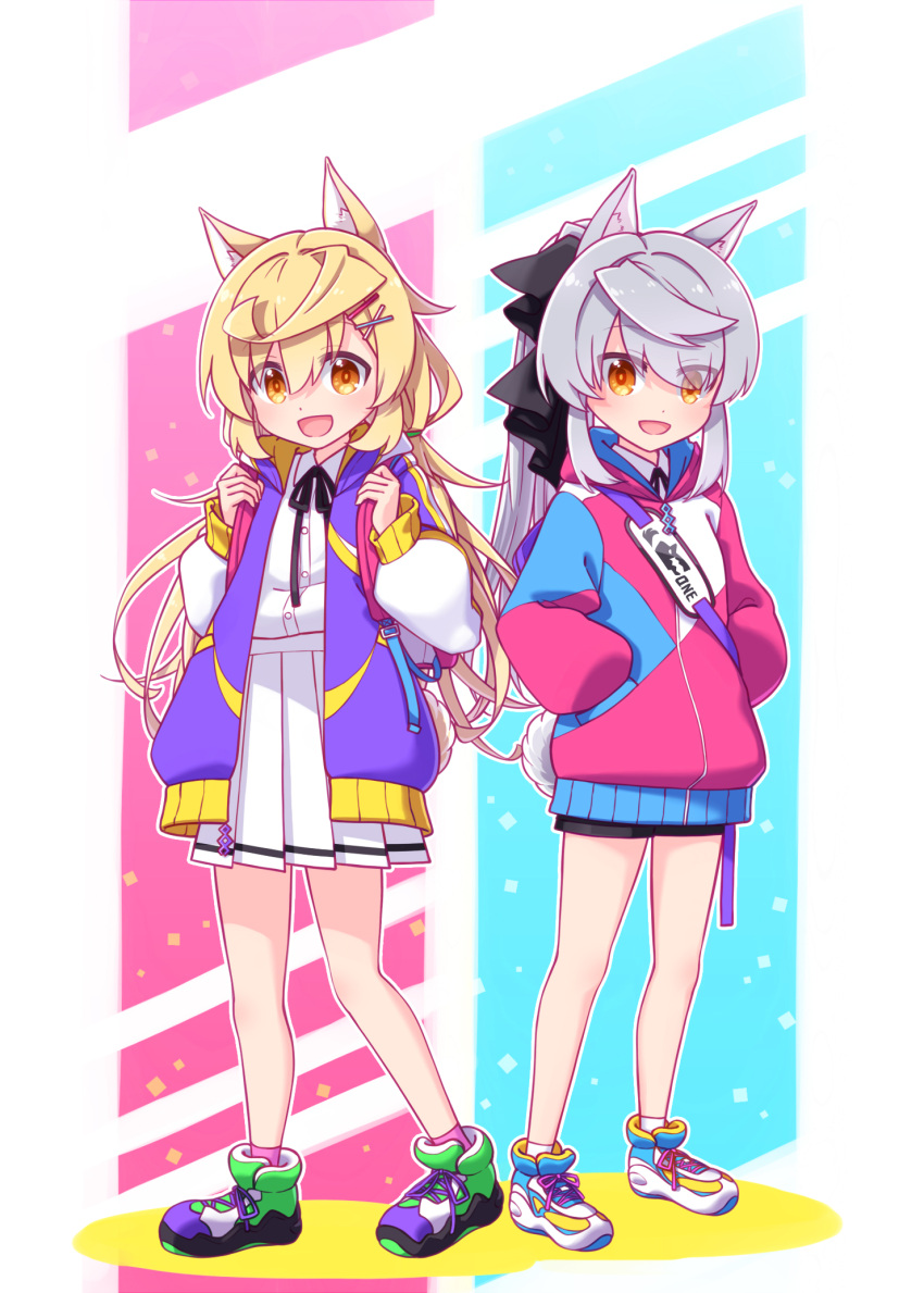 2girls :d backpack bag bangs black_bow black_ribbon blonde_hair bow brown_eyes collared_shirt colored_shadow commentary_request eyebrows_visible_through_hair eyes_visible_through_hair grey_hair hair_between_eyes hair_bow hair_ornament hairclip hands_in_pockets highres hood hood_down hooded_jacket jacket long_hair long_sleeves looking_at_viewer multiple_girls neck_ribbon open_clothes open_jacket open_mouth original pink_jacket pleated_skirt puffy_long_sleeves puffy_sleeves purple_footwear purple_jacket ribbon sansei_rain shadow shirt shoes skirt smile standing very_long_hair white_footwear white_shirt white_skirt x_hair_ornament