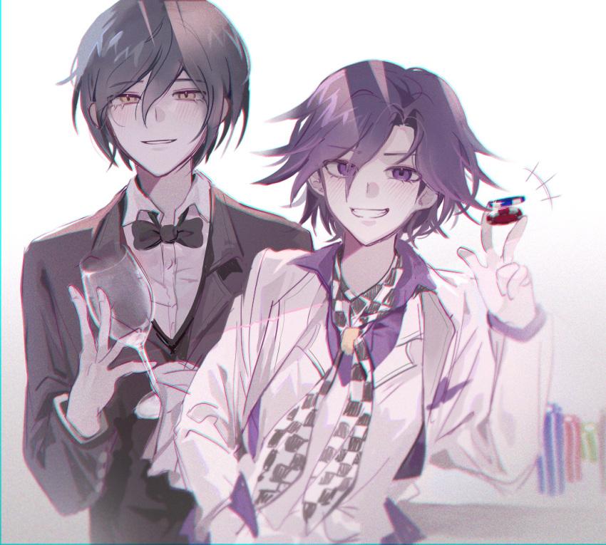 2boys bangs black_bow black_hair black_jacket blush bow bowtie brown_hair checkered checkered_neckwear cup dangan_ronpa_(series) dangan_ronpa_10th_anniversary_costume dangan_ronpa_v3:_killing_harmony grey_background grin half-closed_eyes hand_in_pocket hand_up highres jacket jey_(j3y) male_focus multiple_boys ouma_kokichi parted_lips poker_chip purple_hair purple_shirt saihara_shuuichi shirt short_hair simple_background smile teeth upper_body vest violet_eyes white_jacket white_vest yellow_eyes