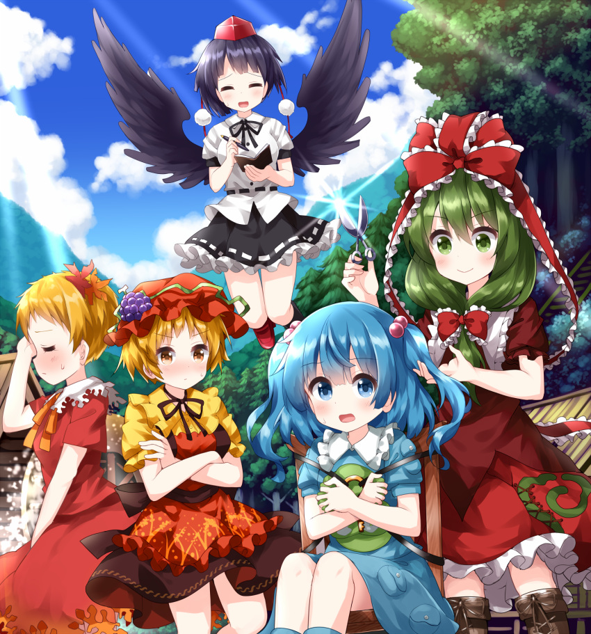 5girls =_= aki_minoriko aki_shizuha alternate_hair_length alternate_hairstyle angry asymmetrical_hair bird_wings black_hair black_wings blonde_hair blue_eyes blue_hair blue_sky closed_mouth clouds commentary_request crossed_arms crying cutting_hair dat dress eyebrows_visible_through_hair food frilled_ribbon frills front_ponytail fruit grapes green_eyes green_hair hair_bobbles hair_ornament hair_ribbon happy hat hat_removed headwear_removed highres kagiyama_hina kawashiro_nitori leaf_hair_ornament long_hair mob_cap multiple_girls notepad open_mouth orange_eyes outdoors pen pom_pom_(clothes) pouch pout red_dress red_headwear red_ribbon ribbon ruu_(tksymkw) scissors shameimaru_aya short_hair short_sleeves sky smile sunlight sweat tears tokin_hat touhou twintails wings