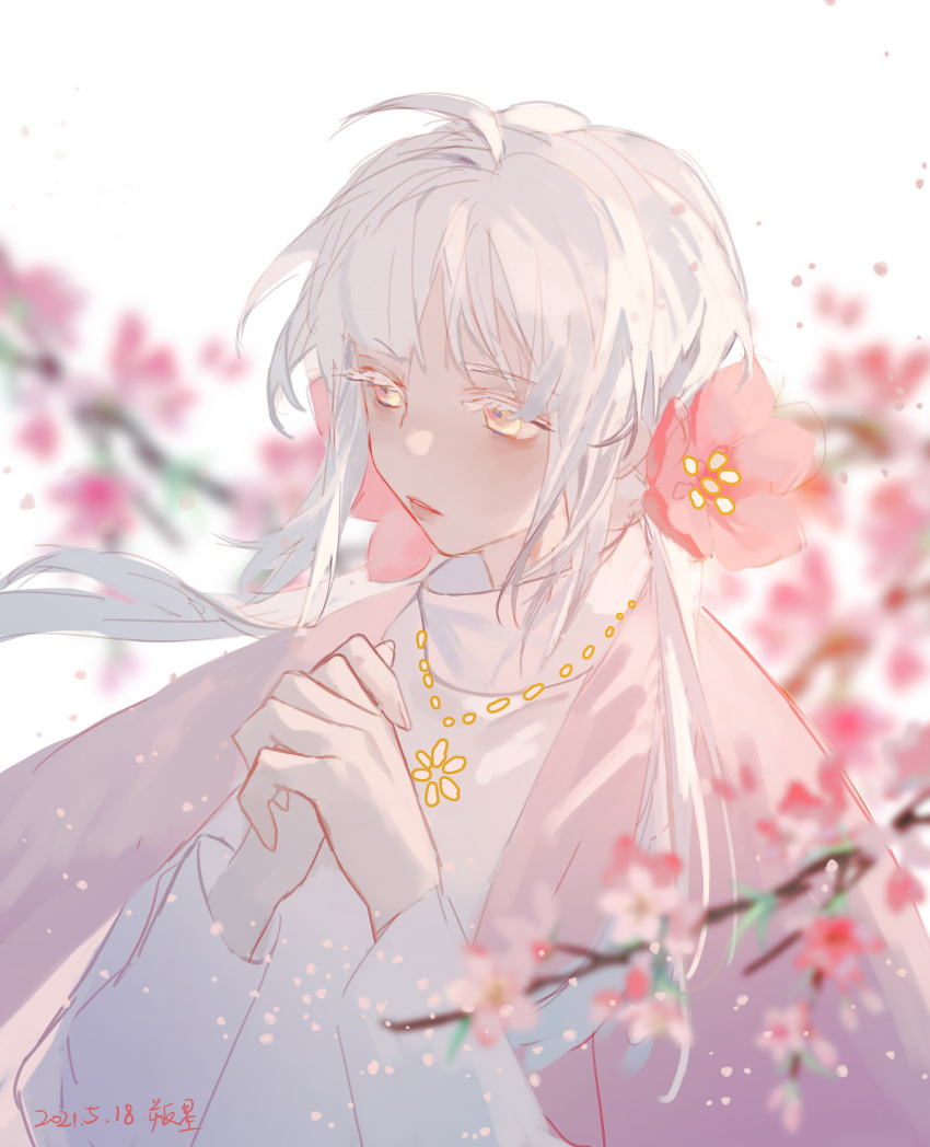 1girl ahoge blurry blurry_background blurry_foreground cherry_blossoms floating_hair flower hair_flower hair_ornament hands_clasped highres jewelry looking_to_the_side necklace own_hands_together petals shisisongdelaogong solo twintails white_eyelashes white_hair