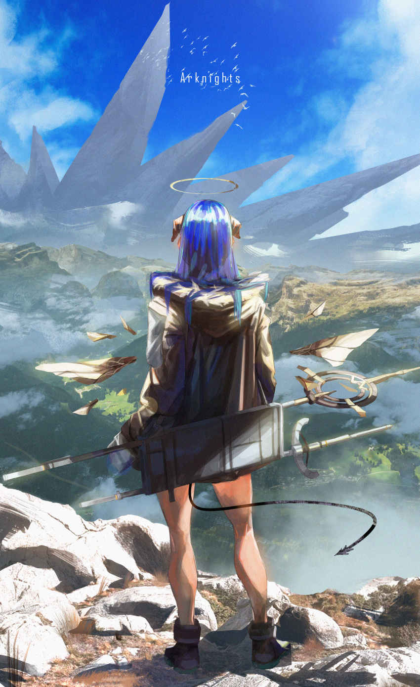 1girl absurdres arknights bird blue_hair copyright_name demon_tail from_behind gyoukan_(jfxc) halo highres hood hooded_jacket horns huge_filesize jacket long_hair mostima_(arknights) originium_(arknights) staff tail