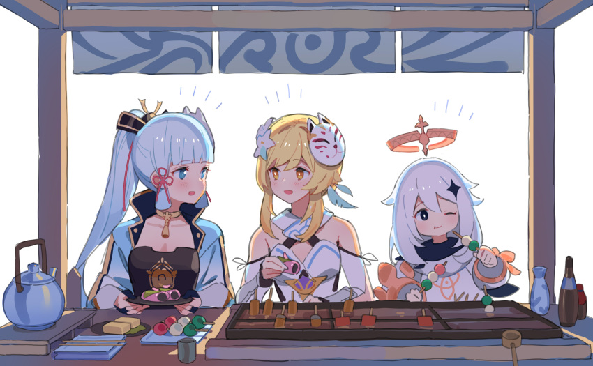 3girls armor bangs blonde_hair blue_eyes blue_hair blunt_bangs blush breastplate choker commentary dango ddal dress eating fairy flower food food_stand fox_mask genshin_impact hair_flower hair_ornament halo highres kamisato_ayaka looking_at_another lumine_(genshin_impact) mask multiple_girls one_eye_closed open_mouth paimon_(genshin_impact) simple_background smile teapot wagashi white_background white_hair yellow_eyes