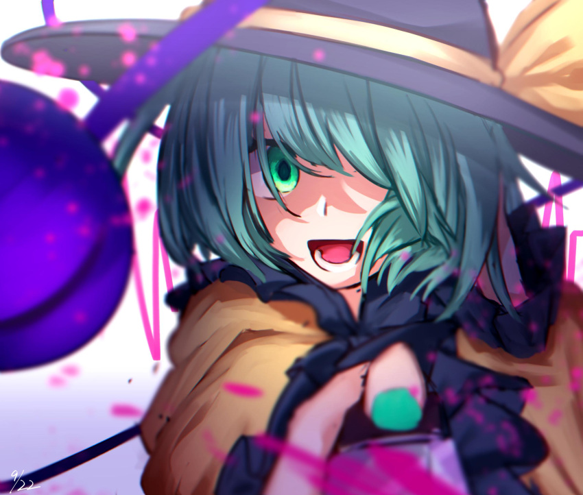 1girl arm_up bangs black_headwear blouse bow frills gradient gradient_background green_eyes green_hair green_nails hair_between_eyes hands_up hat hat_bow highres knife komeiji_koishi light long_sleeves mozuno_(mozya_7) one-hour_drawing_challenge open_mouth phone purple_background shadow short_hair smile solo teeth third_eye tongue touhou upper_body white_background yellow_blouse yellow_bow yellow_sleeves