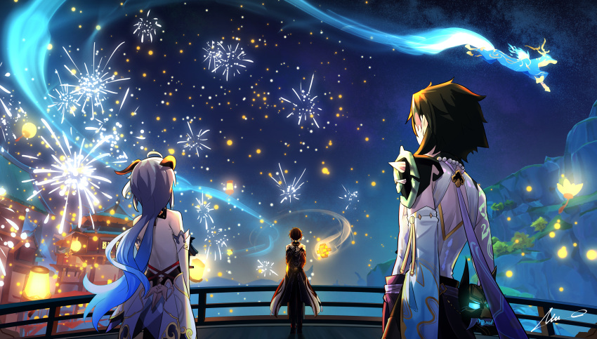 1girl 2boys absurdres ahoge architecture bare_back bead_necklace beads black_hair blue_hair bow bridge brown_coat building clouds cloudy_sky coat commentary_request deer detached_sleeves east_asian_architecture fireworks from_behind ganyu_(genshin_impact) genshin_impact hair_bow hair_ribbon highres horns jewelry lampion lantern lantern_festival long_hair long_sleeves looking_away low_ponytail multiple_boys necklace night night_sky overlord_(overlord80000) paper_lantern ribbon sky sky_lantern star_(sky) starry_sky vision_(genshin_impact) xiao_(genshin_impact) zhongli_(genshin_impact)