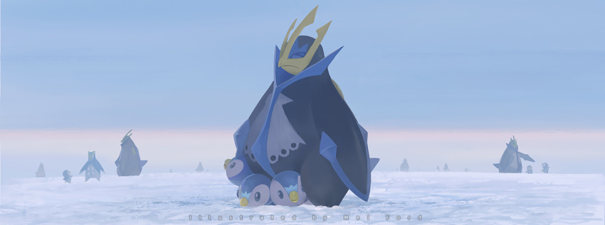 artist_name blue_eyes closed_eyes closed_mouth commentary_request creature day empoleon evolutionary_line gen_4_pokemon looking_up mei_ford no_humans outdoors piplup pokemon pokemon_(creature) prinplup snow standing starter_pokemon
