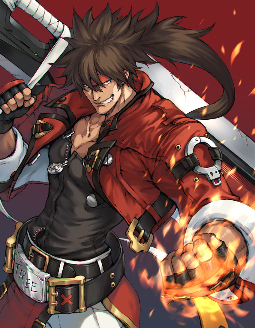 1boy bangs belt black_belt black_gloves brown_hair clenched_teeth cropped_jacket fingerless_gloves fire gloves guilty_gear guilty_gear_strive headband highres holding holding_weapon huge_weapon jacket junkyard_dog_mk_iii long_hair makimura_shunsuke muscular muscular_male open_clothes open_jacket pants red_background red_headband red_jacket sleeves_rolled_up sol_badguy teeth weapon white_pants zipper_pull_tab