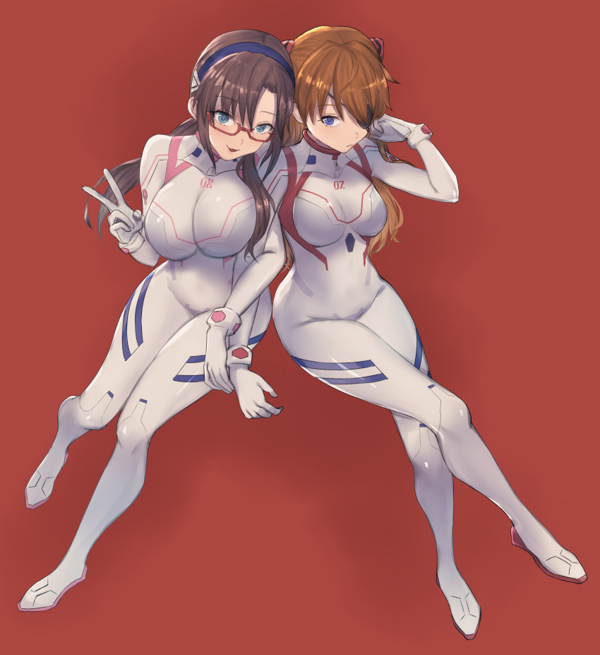 2girls :d absurdres bangs blue_eyes bodysuit breasts brown_hair closed_mouth commentary_request evangelion:_3.0+1.0_thrice_upon_a_time eyebrows_visible_through_hair eyepatch full_body glasses hair_ornament hairband highres interface_headset large_breasts locked_arms long_hair looking_at_viewer makinami_mari_illustrious medium_breasts moshoko_(mizuneroku) multicolored multicolored_bodysuit multicolored_clothes multiple_girls neon_genesis_evangelion open_mouth orange_hair pilot_suit plugsuit rebuild_of_evangelion red-framed_eyewear red_background simple_background skin_tight smile souryuu_asuka_langley standing twintails v white_bodysuit
