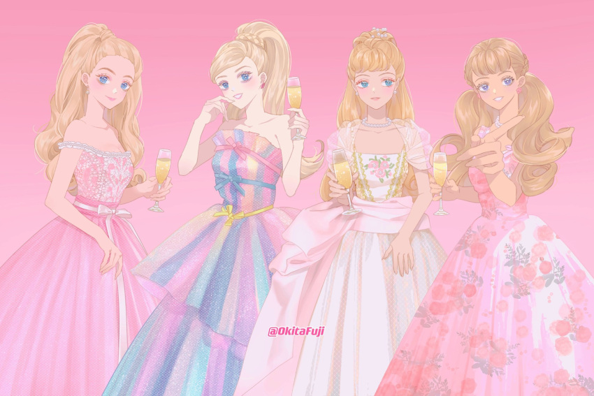 4girls alcohol artist_name barbie_(character) barbie_(franchise) bare_shoulders belt birthday_party birthday_wishes_barbie blonde_hair blue_eyes blue_ribbon breasts champagne champagne_flute cup curly_hair doll dress drinking_glass embellished_costume floral_dress floral_print formal gold_trim gown graphic_dress half_updo hand_on_own_face highres holding holding_cup jewelry multicolored multicolored_clothes multicolored_dress multiple_girls necklace off-shoulder_dress off_shoulder okitafuji pearl_necklace pink_background pink_dress pink_lips pointing ponytail puffy_dress puffy_short_sleeves puffy_sleeves ribbon rose_print sash see-through_sleeves short_sleeves signature sleeveless sleeveless_dress strawberry_blonde_hair tan toy twintails white_dress white_ribbon yellow_ribbon
