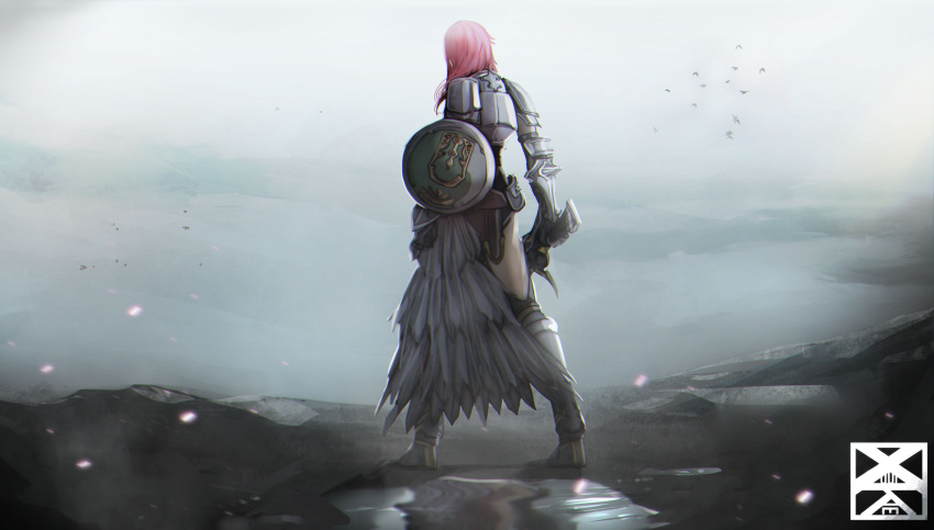 1girl absurdres armor armored_boots asymmetrical_clothes boots feather_skirt final_fantasy final_fantasy_xiii from_behind full_body gauntlets highres holding holding_shield holding_sword holding_weapon lightning_farron long_skirt looking_afar medium_hair pink_hair puddle shield skirt solo sword thighs weapon xuuikie_ashe