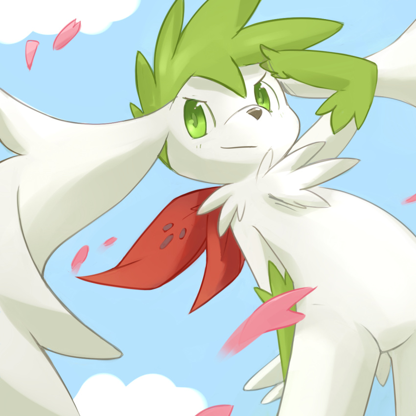 1other ancesra androgynous animal_nose arm_behind_back arm_up bangs blue_background blue_sky blush closed_mouth clouds commentary cowboy_shot day dutch_angle english_commentary furry gen_4_pokemon green_eyes green_fur green_hair happy head_wings highres legendary_pokemon light_blush looking_to_the_side mixed-language_commentary mythical_pokemon other_focus outdoors personification petals pokemon shading_eyes shaymin shaymin_(sky) short_hair sideways_mouth simple_background sky smile snout solo spiky_hair standing tail two-tone_fur v-shaped_eyebrows white_fur white_wings wings