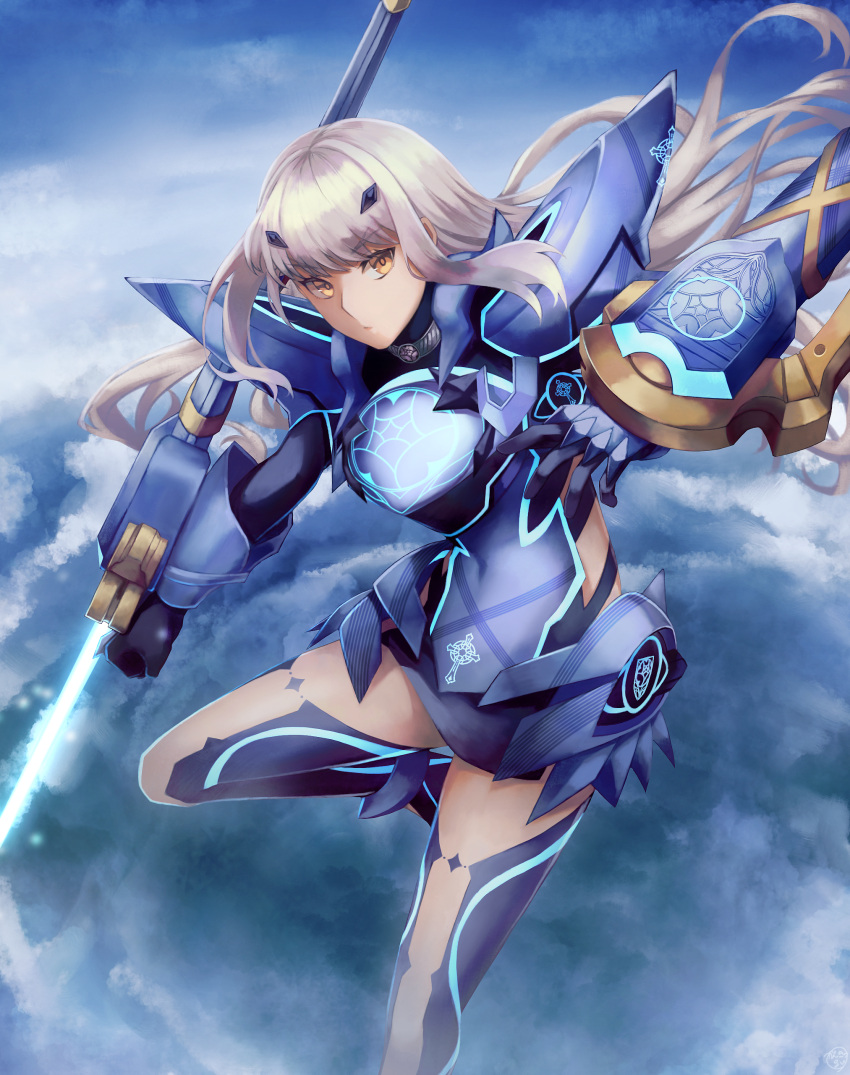 1girl absurdres armor armored_dress bangs blue_armor blue_dress blue_legwear blue_sky breastplate breasts brown_eyes dress fairy_knight_lancelot_(fate) fate/grand_order fate_(series) faulds highres kankitsurui_(house_of_citrus) long_hair looking_at_viewer mask pauldrons short_dress shoulder_armor sidelocks sky small_breasts solo thighs weapon white_hair