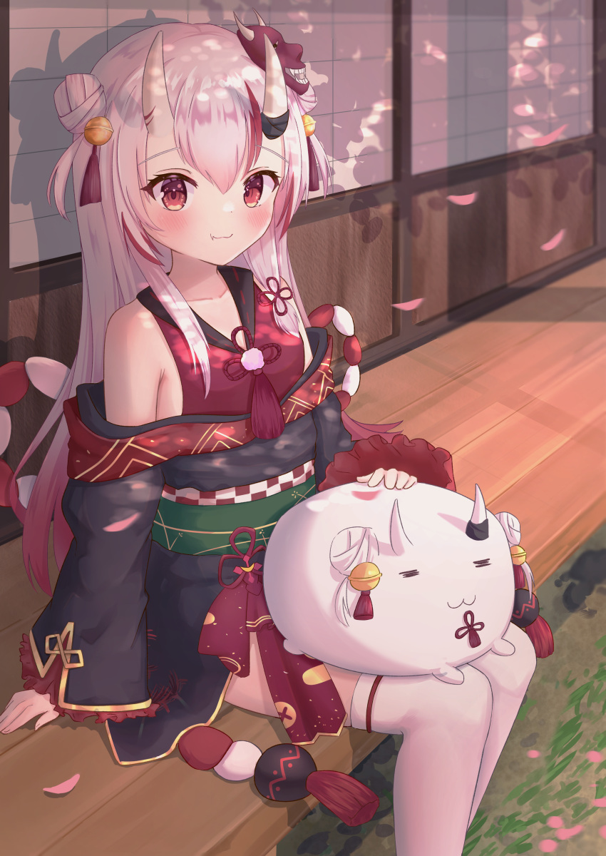 1girl absurdres architecture bare_shoulders bell black_kimono blush closed_mouth creature_on_lap double_bun east_asian_architecture fang frilled_sleeves frills gold_trim gradient_hair hair_bell hair_ornament highres hololive horns icetea_(8862) japanese_clothes jingle_bell kimono kouhaku_nawa long_hair long_sleeves looking_at_viewer mask mask_on_head multicolored_hair nakiri_ayame off-shoulder_kimono oni oni_horns oni_mask petting poyoyo_(nakiri_ayame) red_eyes redhead short_kimono silver_hair sitting skin-covered_horns skin_fang smile solo streaked_hair tassel thigh-highs two_side_up virtual_youtuber white_legwear wide_sleeves