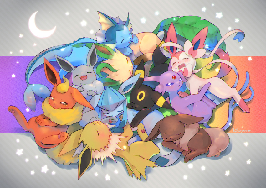 alternate_color blush closed_eyes commentary_request crescent eevee espeon flareon gen_1_pokemon gen_2_pokemon gen_4_pokemon gen_6_pokemon glaceon highres jolteon kikuyoshi_(tracco) leaf leafeon looking_at_viewer open_mouth paws pokemon shiny_pokemon sleeping sleepy smile sylveon tearing_up toes tongue umbreon vaporeon violet_eyes