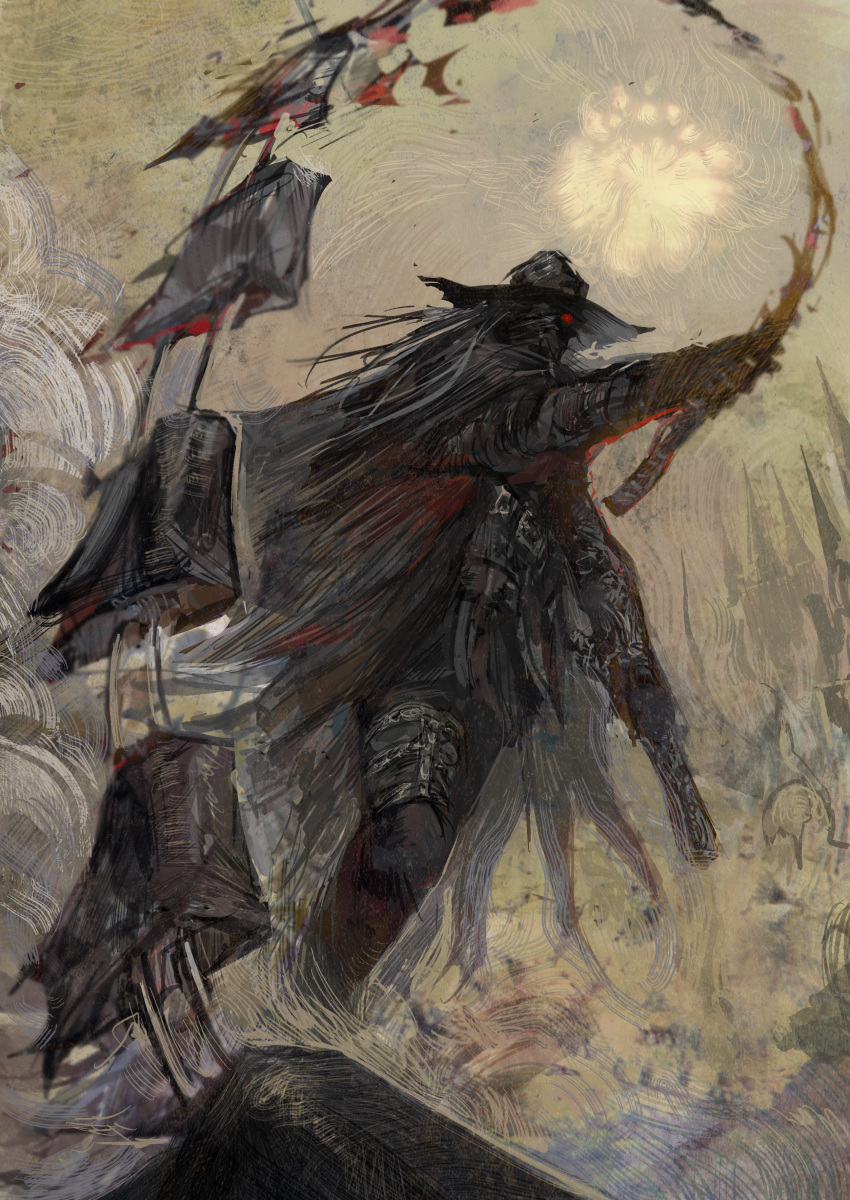 1other absurdres ambiguous_gender armor black_pants blood bloodborne commentary_request glowing glowing_eye grass grey_hair gun hat highres holding holding_gun holding_weapon huge_filesize long_hair nira_(nira_box) pants red_eyes solo standing sword the_old_hunters very_long_hair weapon