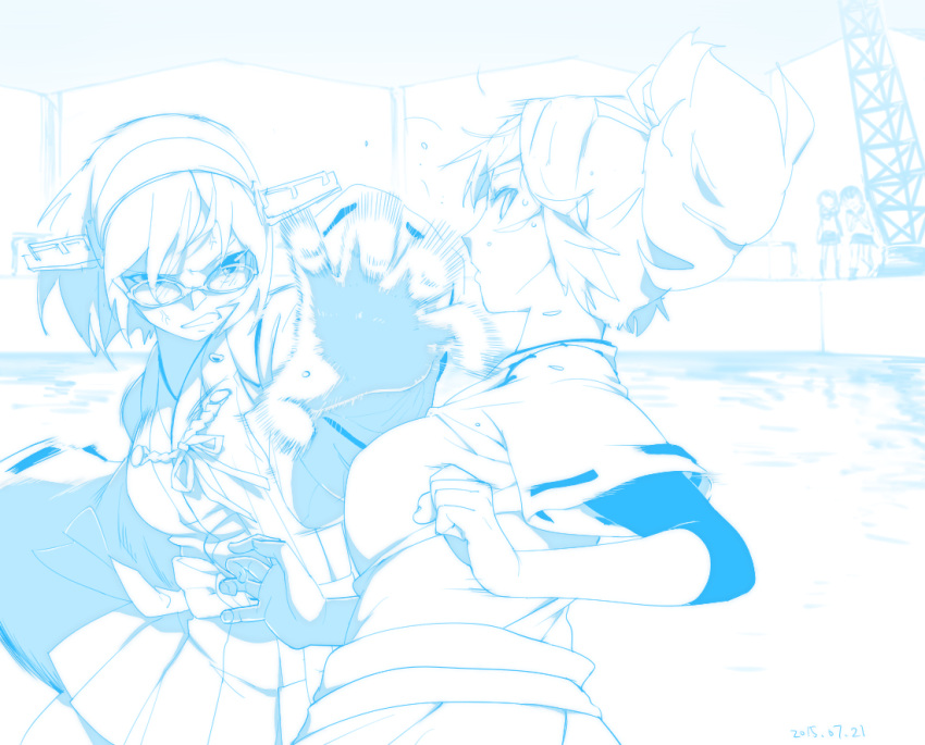 4girls anger_vein bangs blue_theme breasts chagen_kokimu dated detached_sleeves duel headgear ise_(kancolle) japanese_clothes kantai_collection kirishima_(kancolle) monochrome multiple_girls nontraditional_miko open_mouth outdoors ponytail ribbon-trimmed_sleeves ribbon_trim short_hair skirt sweat undershirt water wide_sleeves