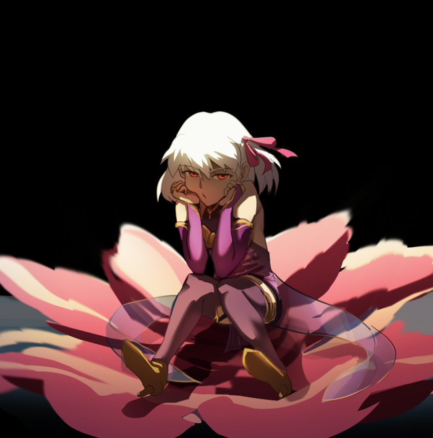 1girl allen_riv armlet armor bangs bare_shoulders bikini_armor black_background blush bracelet breasts collar detached_sleeves dress fate/grand_order fate_(series) floral_print flower hair_ribbon high_heels highres jewelry kama_(fate) looking_at_viewer metal_collar miniskirt purple_dress purple_legwear purple_skirt purple_sleeves red_eyes ribbon ring short_hair silver_hair sitting skirt small_breasts solo thigh-highs thighlet