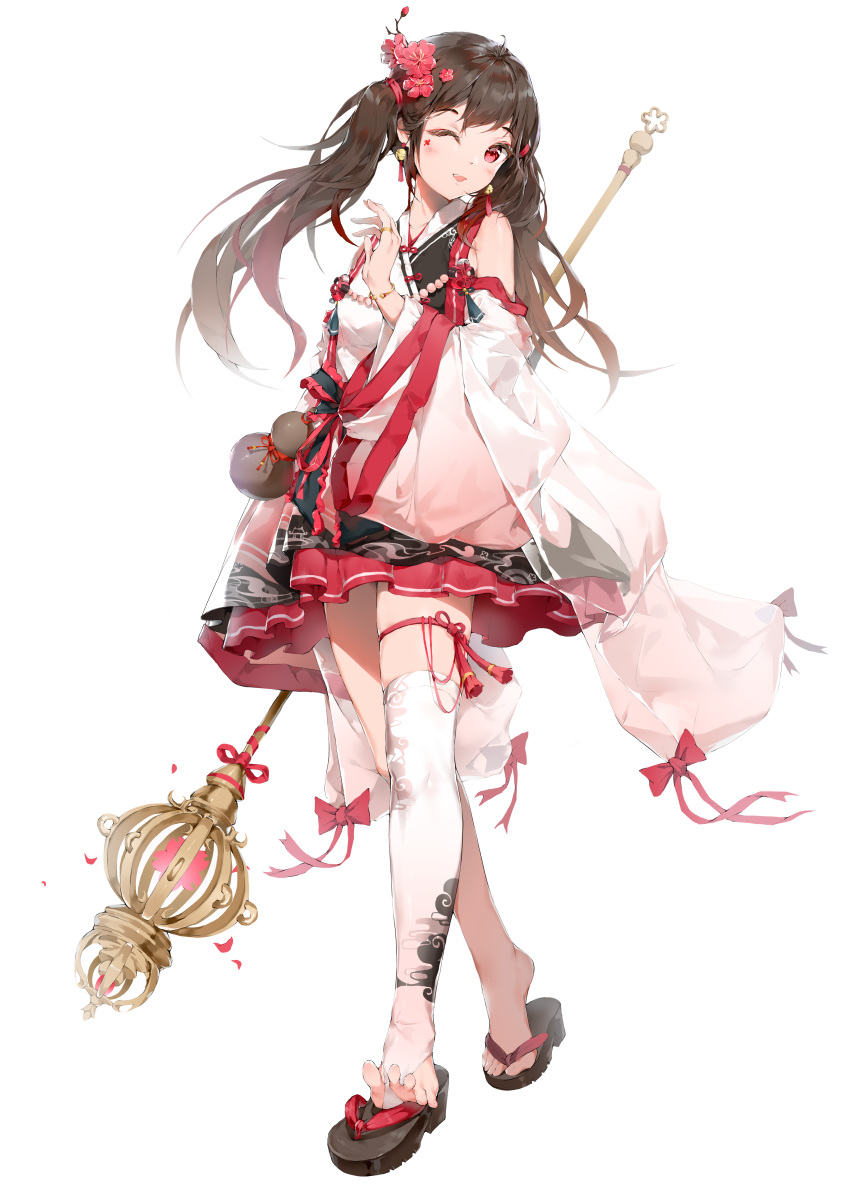 1girl absurdres ahoge bangs bell bell_earrings black_footwear blush bodhi_wushushenghua bow bracelet breasts brown_hair chinese_clothes chinese_commentary commentary_request earrings flower hair_flower hair_ornament hair_ribbon hand_up hanfu highres holding holding_staff jewelry jingle_bell long_hair long_sleeves looking_at_viewer one_eye_closed open_mouth original red_bow red_eyes red_flower red_ribbon ribbon ring sandals simple_background single_thighhigh smile solo staff tassel tassel_earrings thigh-highs thigh_strap toeless_legwear twintails white_background white_legwear wide_sleeves