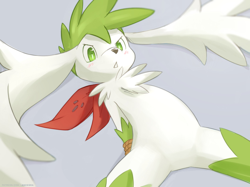 1other :< ancesra androgynous animal_nose arms_behind_back bangs bdsm blurry blush body_fur bondage bound bound_arms commentary depth_of_field english_commentary furry gen_4_pokemon green_eyes green_fur green_hair grey_background head_wings highres legendary_pokemon light_blush lying mythical_pokemon on_back other_focus parted_lips personification pokemon rope shaymin shaymin_(sky) short_hair simple_background snout solo spiky_hair spread_legs teeth two-tone_fur v-shaped_eyebrows white_fur white_wings wings
