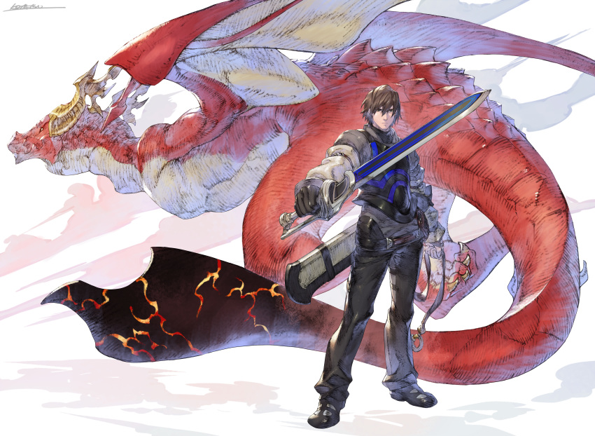 1boy absurdres armor black_footwear black_pants breastplate brown_eyes brown_gloves brown_hair character_request closed_mouth drag-on_dragoon dragon fantasy gloves highres holding holding_sword holding_weapon huge_filesize kotatsu_(g-rough) long_sleeves looking_at_viewer male_focus pants shoes solo standing sword weapon