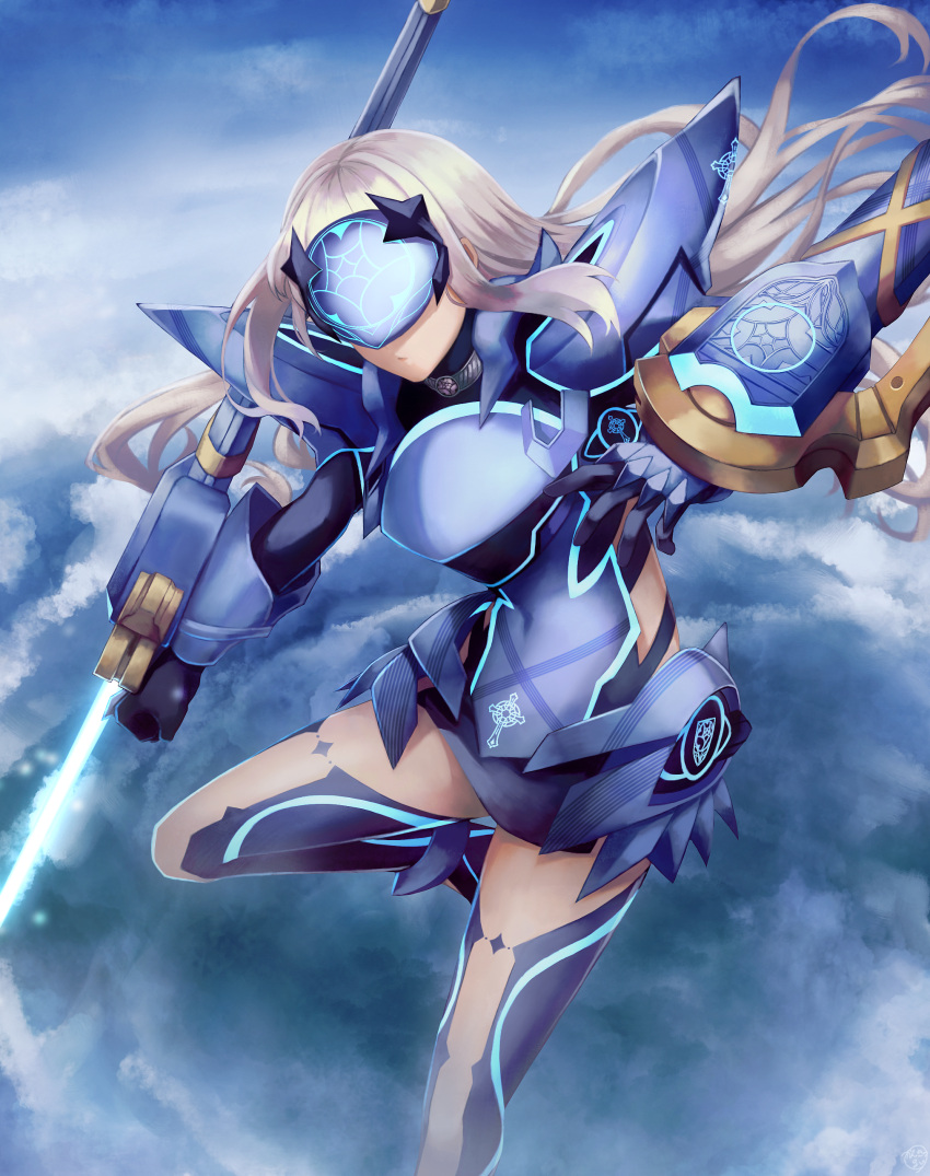 1girl absurdres armor armored_dress bangs blue_armor blue_dress blue_legwear blue_sky breastplate breasts dress fairy_knight_lancelot_(fate) fate/grand_order fate_(series) faulds highres kankitsurui_(house_of_citrus) long_hair mask pauldrons short_dress shoulder_armor sidelocks sky small_breasts solo thighs weapon white_hair