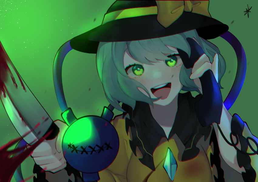 1girl :d bangs black_headwear blood bloody_knife blouse bow breasts chromatic_aberration eyeball eyebrows_behind_hair frilled_shirt_collar frills gradient gradient_background green_background green_eyes green_hair hat hat_bow hat_ribbon highres holding holding_knife holding_phone knife komeiji_koishi light_blush long_sleeves looking_at_viewer majime_joe medium_breasts open_mouth phone ribbon round_teeth short_hair signature simple_background smile solo swept_bangs teeth third_eye touhou upper_teeth wide_sleeves yellow_blouse yellow_bow