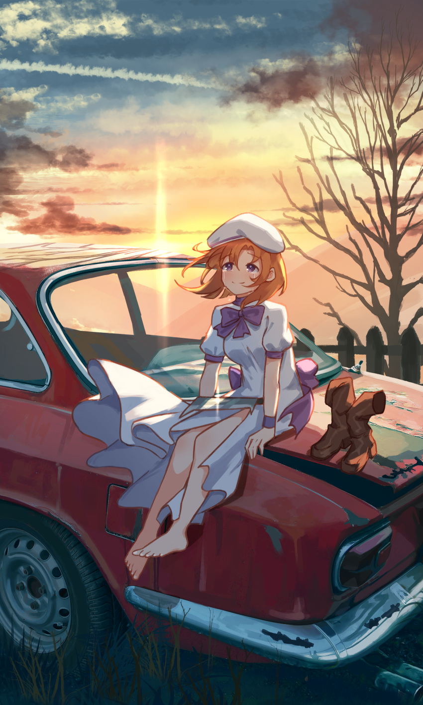1girl absurdres arm_support barefoot boots_removed bow brown_footwear car commentary commission dress dusk fence footwear_removed grass ground_vehicle hat highres higurashi_no_naku_koro_ni jl_tan motor_vehicle orange_hair outdoors puffy_short_sleeves puffy_sleeves purple_bow ryuuguu_rena short_hair short_sleeves sitting solo sunset tree white_dress white_headwear