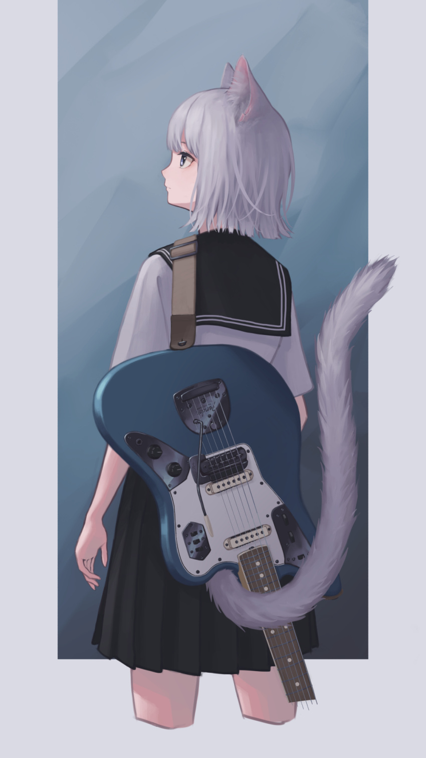 1girl animal_ears black_neckwear black_skirt blue_eyes cat_ears cat_girl cat_tail cowboy_shot cropped_legs electric_guitar from_behind guitar highres instrument instrument_on_back looking_to_the_side looking_up original pleated_skirt school_uniform serafuku shirt short_hair skirt solo tail tail_raised unvrsms white_hair white_shirt