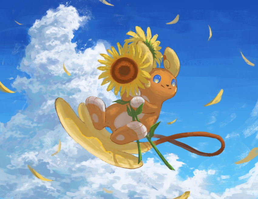 alolan_form alolan_raichu blue_eyes closed_mouth clouds commentary_request day flower flying full_body gen_7_pokemon highres holding holding_flower nashimochi_4 no_humans outdoors petals pokemon pokemon_(creature) sky smile solo split_mouth sunflower
