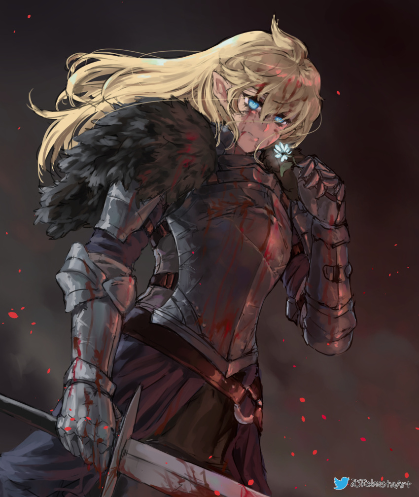 1girl armor black_armor blonde_hair blood blood_on_face bloody_clothes bloody_hair bloody_weapon blue_eyes breastplate commentary_request commission cowboy_shot embers flower gauntlets hair_between_eyes highres holding holding_flower holding_sword holding_weapon knight long_hair original plate_armor pointy_ears robusta_mania smoke solo standing sword twitter_logo twitter_username watermark weapon