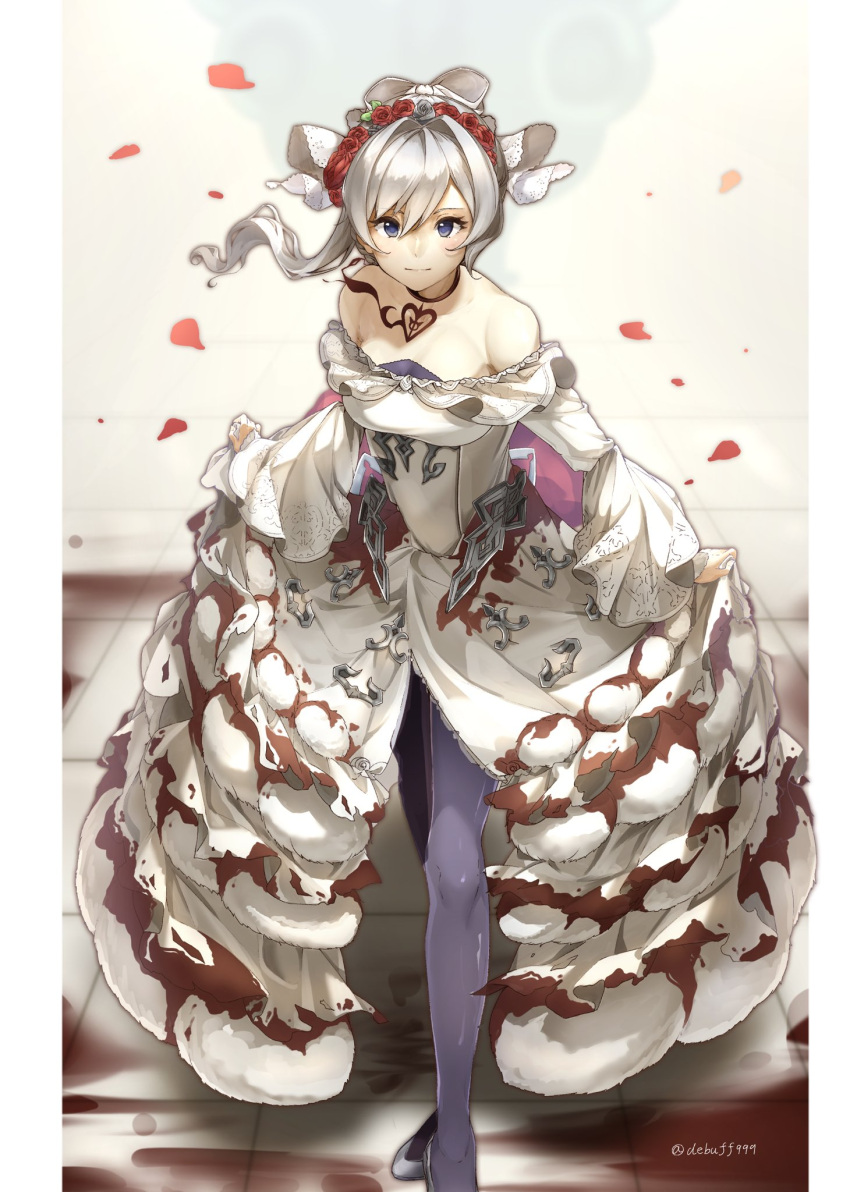 1girl blood blood_splatter bloody_clothes blue_eyes bow choker closed_mouth curtsey debuff999 dress expressionless flower frilled_dress frills hair_bow highres long_skirt looking_at_viewer pantyhose petals red_flower red_rose rose rose_petals short_hair sidelocks sinoalice skirt snow_white_(sinoalice) tiara white_hair