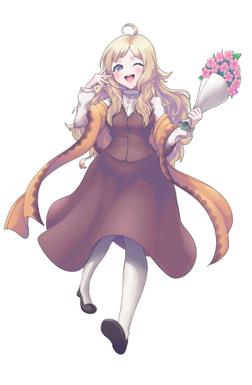 1girl ahoge alternate_costume bangs blonde_hair bouquet fire_emblem fire_emblem_fates flower full_body grey_eyes highres holding holding_bouquet long_hair long_sleeves looking_at_viewer one_eye_closed open_mouth ophelia_(fire_emblem) scarf second-party_source sher_(imnotsher) turtleneck upper_teeth
