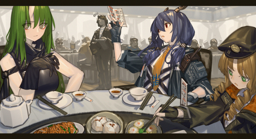 3girls arknights beret black_gloves black_headwear black_jacket blue_hair ch'en_(arknights) chinese_commentary chopsticks cup drill_hair fingerless_gloves food gloves green_eyes green_hair hat highres holding holding_chopsticks holding_menu horns hoshiguma_(arknights) indoors jacket lanzi_(415460661) letterboxed long_hair menu multiple_girls necktie notice_lines oni_horns open_clothes open_jacket open_mouth orange_hair orange_neckwear plate red_eyes restaurant shirt single_horn swire_(arknights) twin_drills twintails white_shirt yellow_eyes