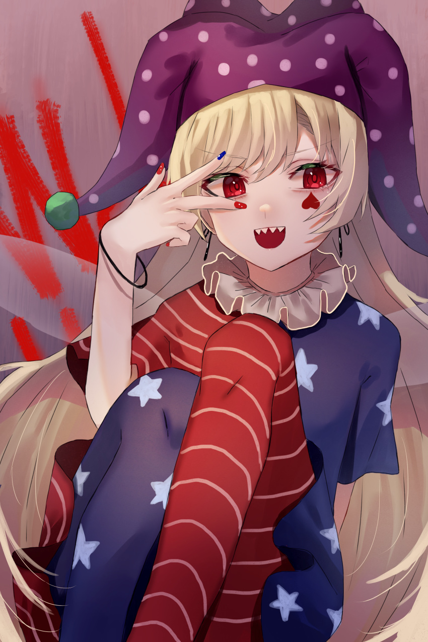 1girl :d absurdres american_flag_dress bangs blue_nails bracelet breasts clownpiece commentary_request earrings eyebrows_visible_through_hair facial_mark fairy_wings feet_out_of_frame hair_between_eyes hand_up hat heart highres jester_cap jewelry katsukare knees_up long_hair looking_at_viewer multicolored multicolored_nails nail_polish neck_ruff open_mouth pantyhose polka_dot purple_background purple_headwear red_eyes red_nails sharp_teeth short_sleeves simple_background sitting small_breasts smile solo spade_(shape) star_(symbol) star_print teeth touhou upper_teeth v-shaped_eyebrows v_over_eye very_long_hair wings