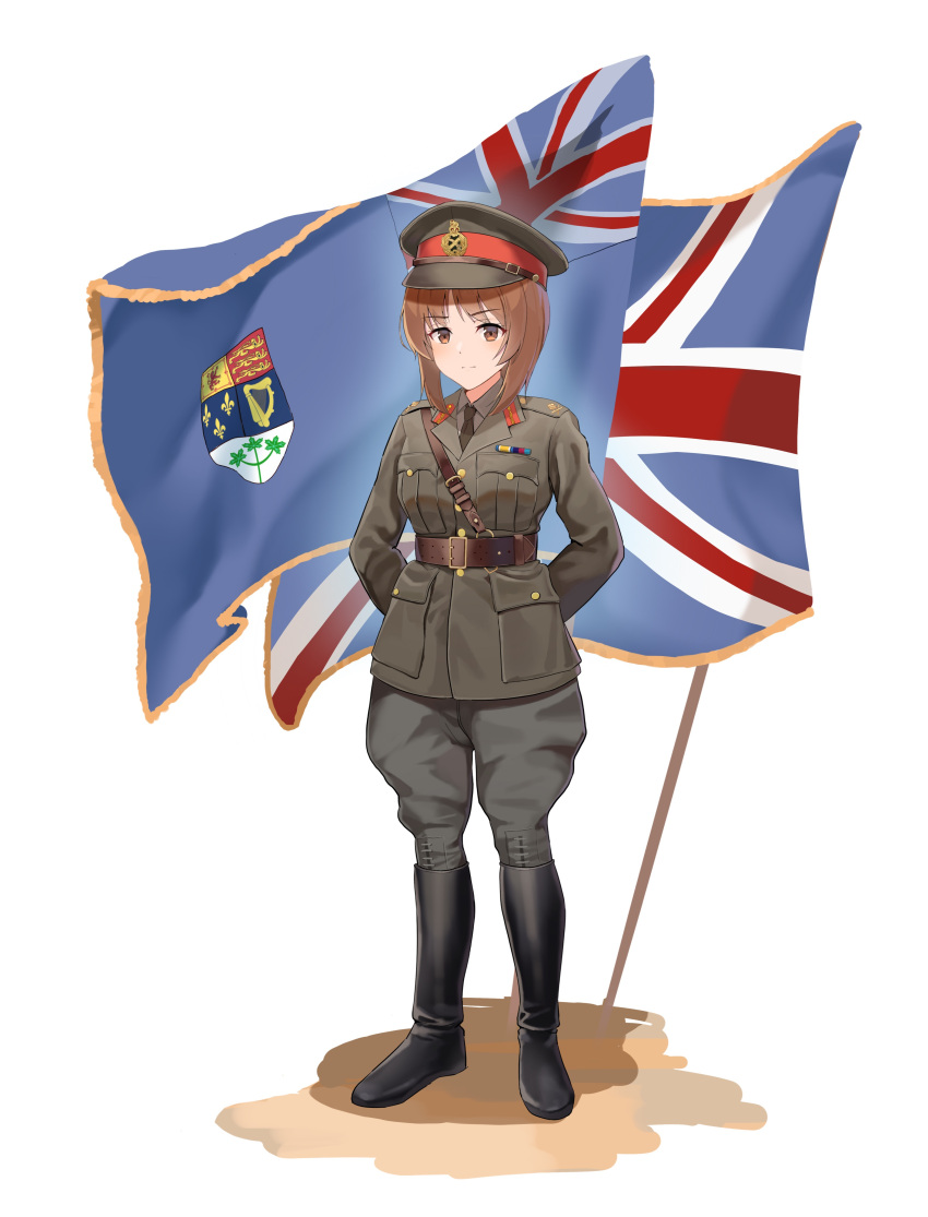 1girl absurdres arms_behind_back belt boots brown_eyes brown_hair flag girls_und_panzer hat highres knee_boots medium_hair military military_uniform necktie nishizumi_miho peaked_cap simple_background soldier solo unicron_(brous) uniform union_jack united_kingdom white_background world_war_ii