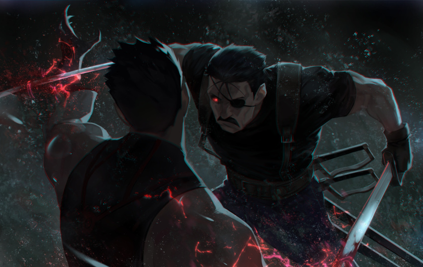 2boys battle black_gloves black_hair black_shirt blood commentary dual_wielding eyepatch facial_hair fullmetal_alchemist gloves glowing glowing_eye greed_(fma) highres holding holding_sword holding_weapon jhc_kai king_bradley male_focus multiple_boys muscular muscular_male mustache pants red_eyes severed_hand shirt short_hair short_sleeves sleeveless sleeveless_shirt suspenders sword weapon