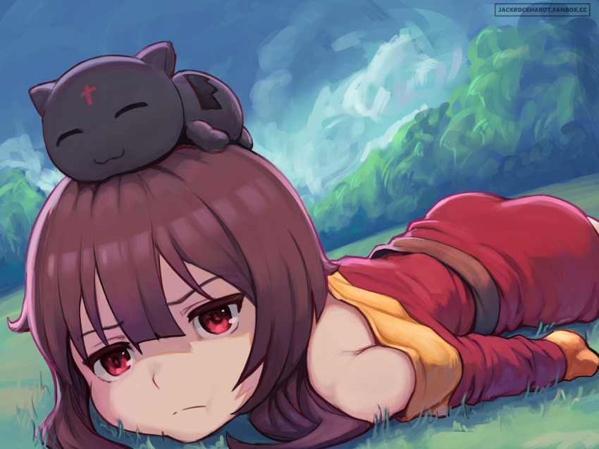 1girl animal_on_head artist_name ass bangs bare_shoulders belt brown_belt brown_hair cat cat_on_head chomusuke closed_mouth commentary day dress english_commentary frown grass jack_rockhardt kono_subarashii_sekai_ni_shukufuku_wo! long_sleeves looking_at_viewer lying megumin on_head on_stomach outdoors pout red_dress red_eyes short_dress short_hair_with_long_locks smile solo top-down_bottom-up watermark web_address