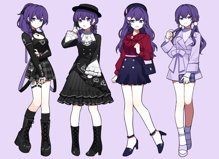 4girls :d asahina_mafuyu bag bangs beret black_dress black_footwear black_gloves black_legwear black_nails black_skirt black_tank_top blouse blue_eyes blue_footwear blue_hair blue_skirt boater_hat boots bow bowtie breasts chain coat cross cross-laced_footwear cross_earrings cross_print dress dress_bow ear_piercing earrings empty_eyes enskkt fishnets frilled_dress frilled_sleeves frills gloves hair_bow hair_ornament half_gloves handbag hat heart heart_print hello_kitty hello_kitty_(character) high_heel_boots high_heels high_ponytail highres holding_purse jewelry kneehighs large_breasts lolita_fashion long_hair long_sleeves looking_at_viewer low_twintails multiple_girls multiple_rings open_mouth pencil_skirt piercing plaid plaid_skirt pleated_skirt pom_pom_(clothes) pom_pom_hair_ornament project_sekai puffy_long_sleeves puffy_sleeves purple_coat purple_footwear purple_sweater red_shirt ring shirt side_ponytail sidelocks skirt smile sweater tank_top thigh_strap thigh_tattoo toeless_footwear twintails wavy_hair white_legwear